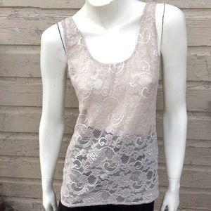Aritzia/Talula sheer flower print sleeveless top